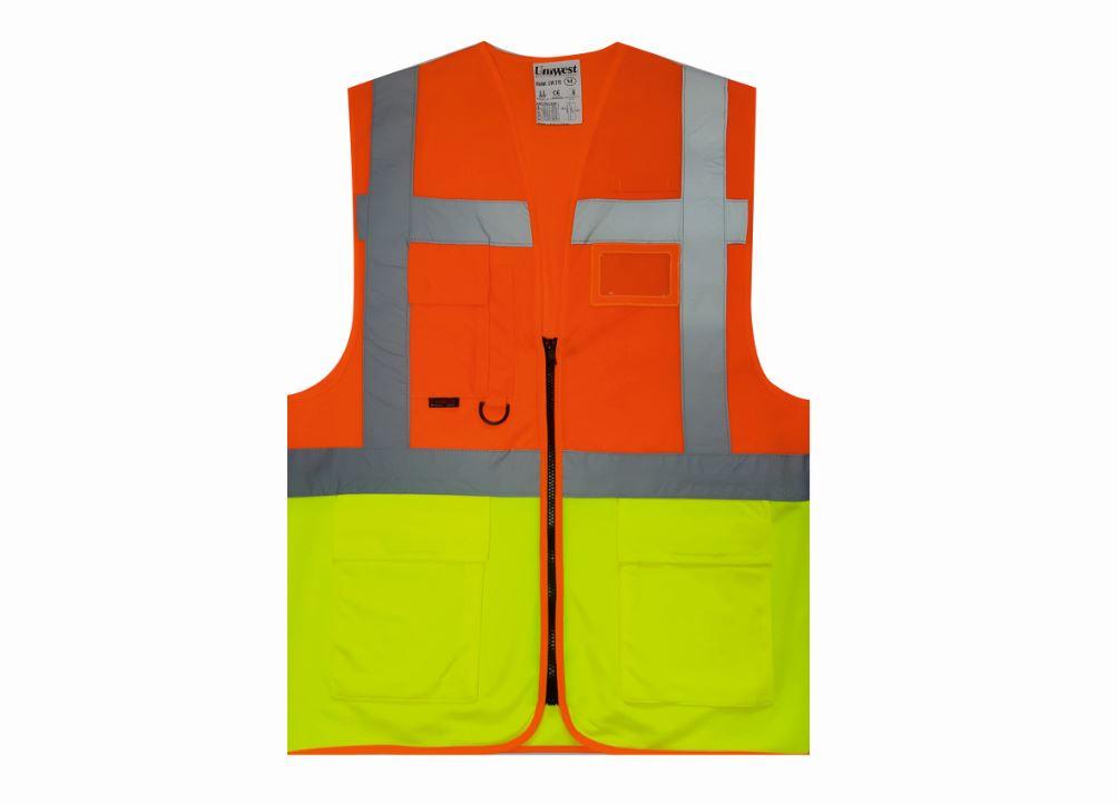 uniwest-UW-214-cift-seritli-yonetici-yelegi-turuncu-sari
